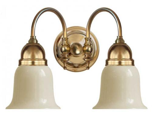 Bathroom Wall Lamp - Stackelberg brass, off white glass