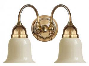 Vegglampe - Stackelberg messing, gul hvitt glass