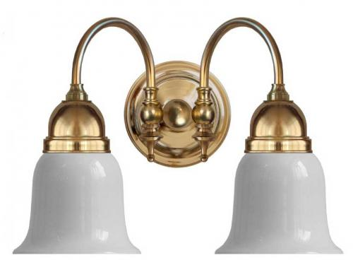 Bathroom Wall Lamp - Stackelberg brass, white glass