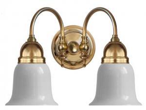 Vegglampe - Stackelberg messing, hvitt glass