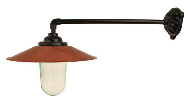 Utomhuslampa - Stallampa 90° rak koppling, kopparskärm - gammaldags inredning - klassisk stil - retro -sekelskifte