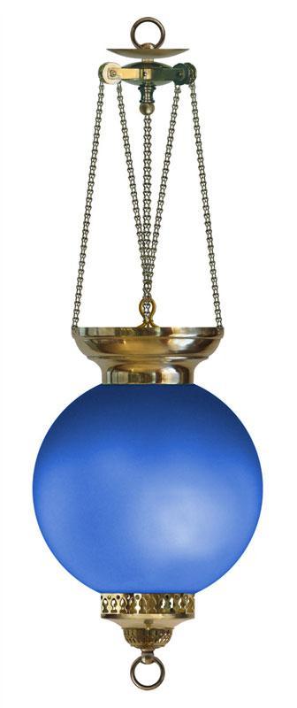Parafinlampe - Måneskinnslampe Blå - arvestykke - gammeldags dekor - klassisk stil - retro