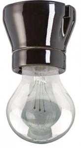 Old style lamp holder - Black porcelain