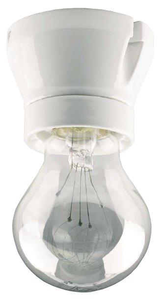 Lamp holder - White porcelain, straight