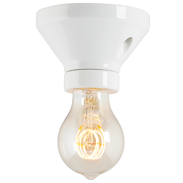 Fotlamphållare 100 mm rak - Vit porslin