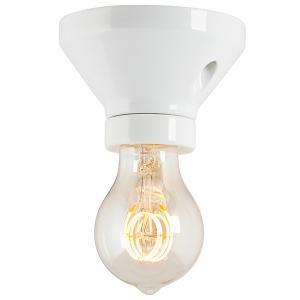 Lamp holder 100 mm straight - White porcelain