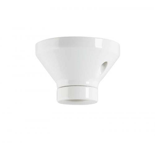 Lamp holder 100 mm straight - White porcelain