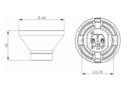 Fotlamphållare 100 mm rak