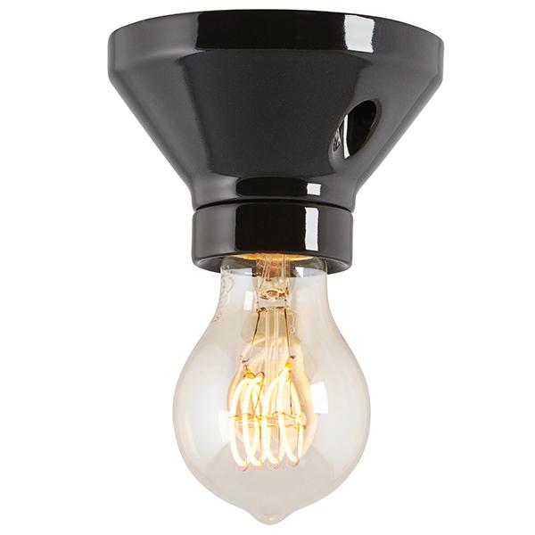 Lamp Holder 100 Mm Straight Socket In Black Porcelain