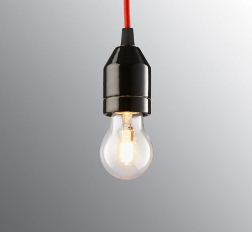 Lamp pendant - Red textile cord and black porcelain base
