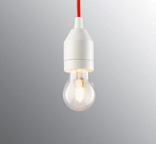 Lamp pendant - Red textile cord and white porcelain base
