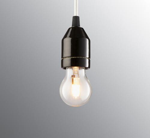 Lamp pendant - White textile cord and black porcelain base