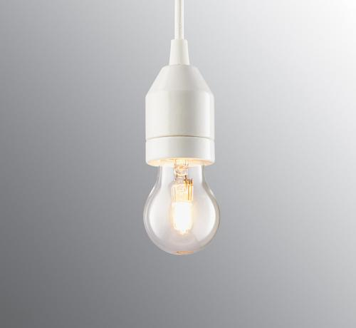 Lamp pendant - White textile cord and white porcelain base