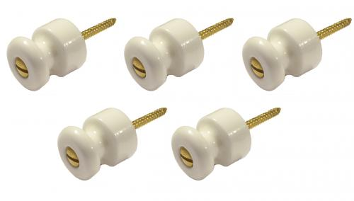 Insulator Knob - Porcelain brass (5-pack)