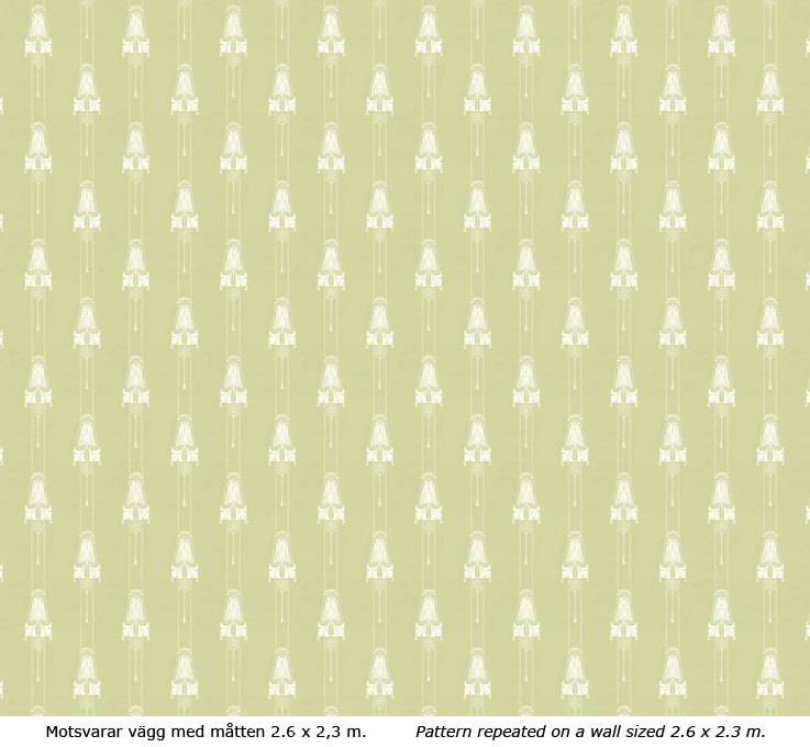 Lim & Handtryck Tapet - Slottsviken grön/vit - gammaldags stil - klassisk stil -retro