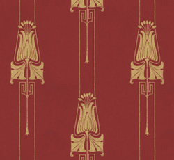 Lim & Handtryck Tapet - Slottsviken röd/guld - gammaldags stil - klassisk inredning
