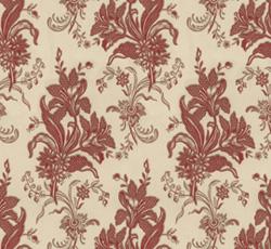 Lim & Handtryck Tapet - Liljor kvist/röd - klassisk stil - gammaldags inredning