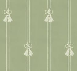 Lim & Handtryck - Gammaldags Tapet - Snoddar & Tofsar grön/vit