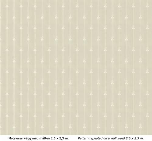 Lim & Handtryck - Gammaldags Tapet - Snoddar & Tofsar grågrön/vit