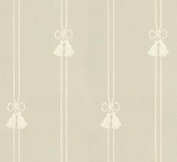 Lim & Handtryck - Gammaldags Tapet - Snoddar & Tofsar grågrön/vit - old style - retro
