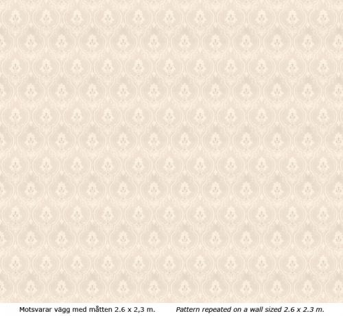 Lim & Handtryck - Gammaldags Tapet - Älgå, vit/torv