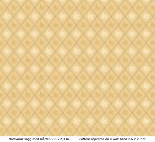 Lim & Handtryck - Gammaldags Tapet - Karoline, ljusgul/gul