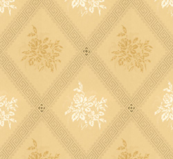 Lim & Handtryck - Gammaldags Tapet - Karoline, ljusgul/gul - old style - old fashioned interior