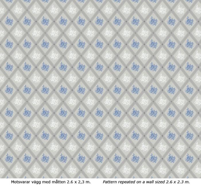 Lim & Handtryck - Gammaldags Tapet - Karoline ljusblå/blå - retro - oldschool style