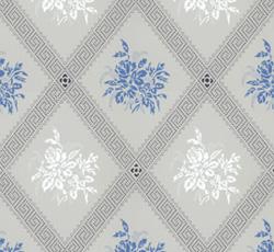 Lim & Handtryck - Gammaldags Tapet - Karoline, ljusblå/blå