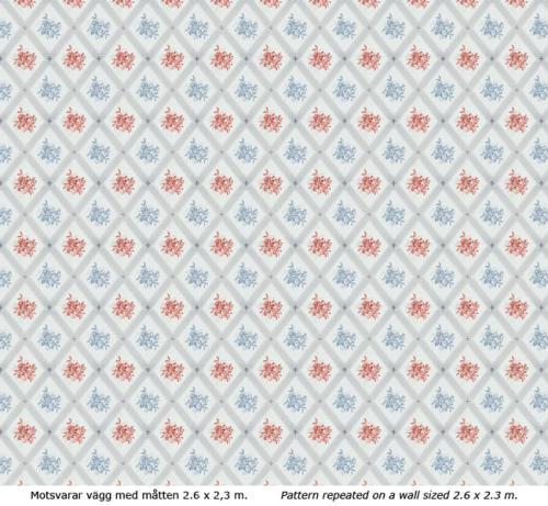 Lim & Handtryck - Gammaldags Tapet - Karoline, ljusblå/röd