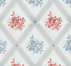 Lim & Handtryck - Gammaldags Tapet - Karoline ljusblå/röd - old fashioned style - vintage interior