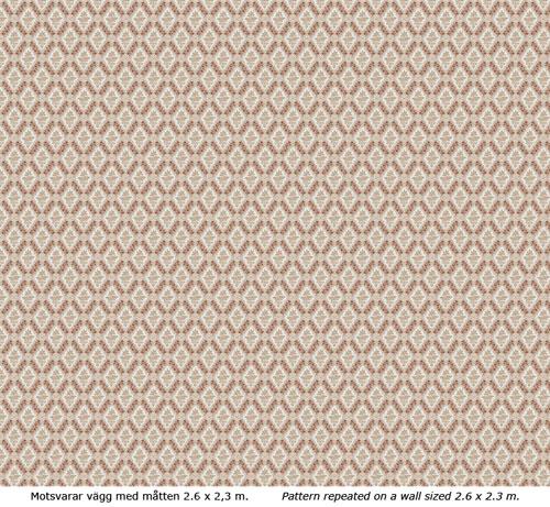 Lim & Handtryck Tapet - Stenhamra kvist/röd - retro - gammaldags stil