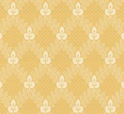 Lim & Handtryck - Gammaldags Tapet - Gudmundstjärn, gul/vit