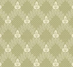 Lim & Handtryck - Gammaldags Tapet - Gudmundstjärn, grön/vit