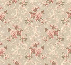 Lim & Handtryck - Gammaldags Tapet - Hovdala blomma, vit/rosa