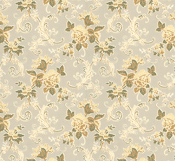 Lim & Handtryck - Gammaldags Tapet - Hovdala blomma, vit/gul