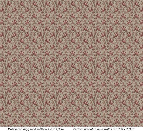Lim & Handtryck Tapet - Hovdala blomma grå/röd - sekelskifte - gammal stil
