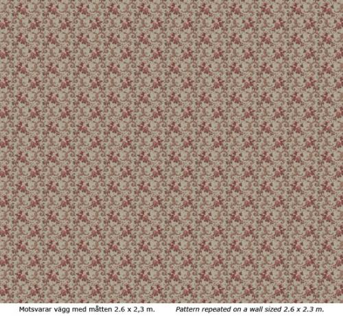 Wallpaper - Hovdala blomma grey/red