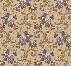 Lim & Handtryck Tapet - Hovdala blomma grå/blå - retro - gammaldags stil