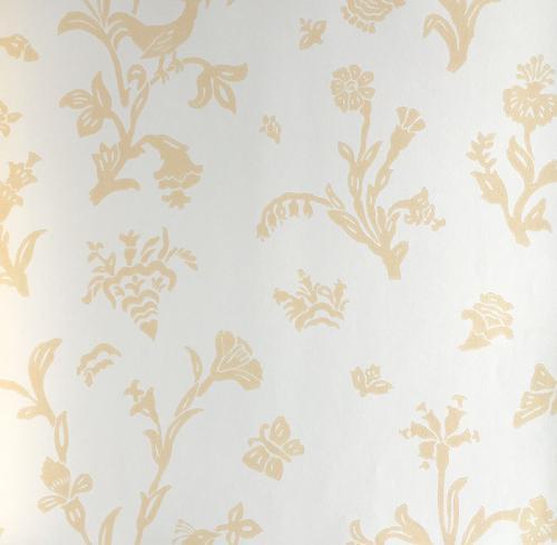 Lim & Handtryck Tapet - Fågelblå vit/gul - sekelskiftesstil - gammaldags inredning - retro