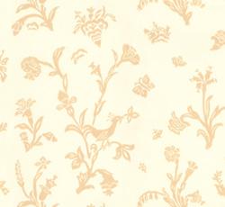 Lim & Handtryck Tapet - Fågelblå vit/gul - sekelskifte - gammaldags inredning - retro