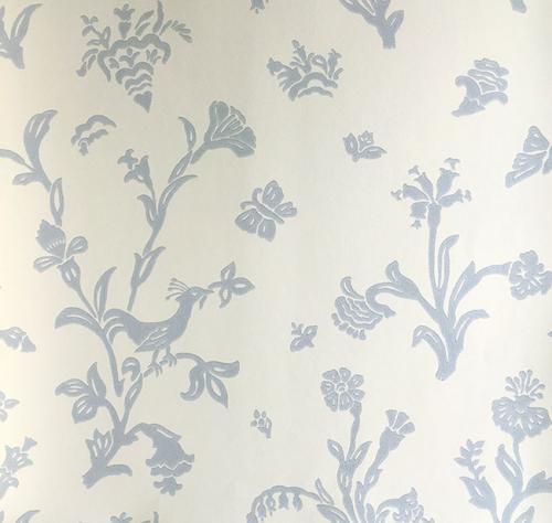 Wallpaper - Fågelblå white/blue