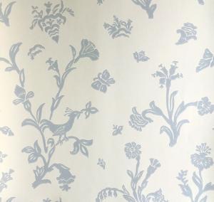 Lim & Handtryck Tapet - Fågelblå vit/blå - sekelskiftesstil - gammaldags inredning - retro