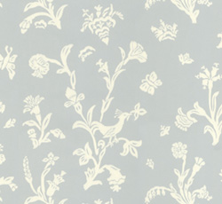 Lim & Handtryck Tapet - Fågelblå blå/vit - sekelskiftesstil - gammaldags