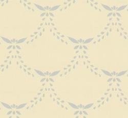 Lim & Handtryck Tapet - Glommersträsk vit/ljusblå - sekelskifte - gammal stil