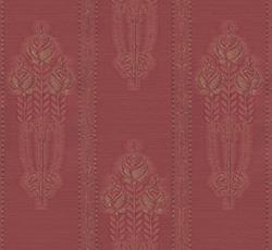Lim & Handtryck Tapet - Jugendros röd/guld - sekelskifte - gammaldags - klassisk