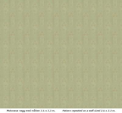 Lim & Handtryck Tapet - Jugendros grön/guld - gammaldags - klassisk inredning