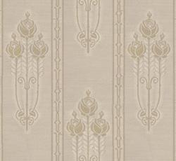 Lim & Handtryck Tapet - Jugendros beige/guld - klassisk inredning - gammaldags - retro