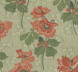 Wallpaper - Vallmo green/red