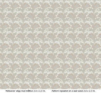 Lim & Handtryck Tapet - Berlin grå/orange - retro - sekelskiftesstil - gammaldags